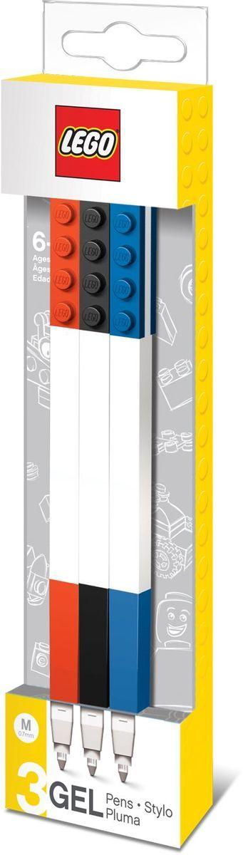 Набор гелевых ручек из уникальной коллекции канцелярских принадлежностей Lego состоит из 3-х ручек с чернилами красного, чёрного и синего цветов. Ручка имеет пластиковый корпус с резиновой манжеткой, которая снижает напряжение руки. Ручка обеспечивает легкое и мягкое письмо, чернила быстро высыхают, не размазываются. Корпусы ручек дополнены классическими деталями конструктора Lego, что позволяет соединять их между собой.