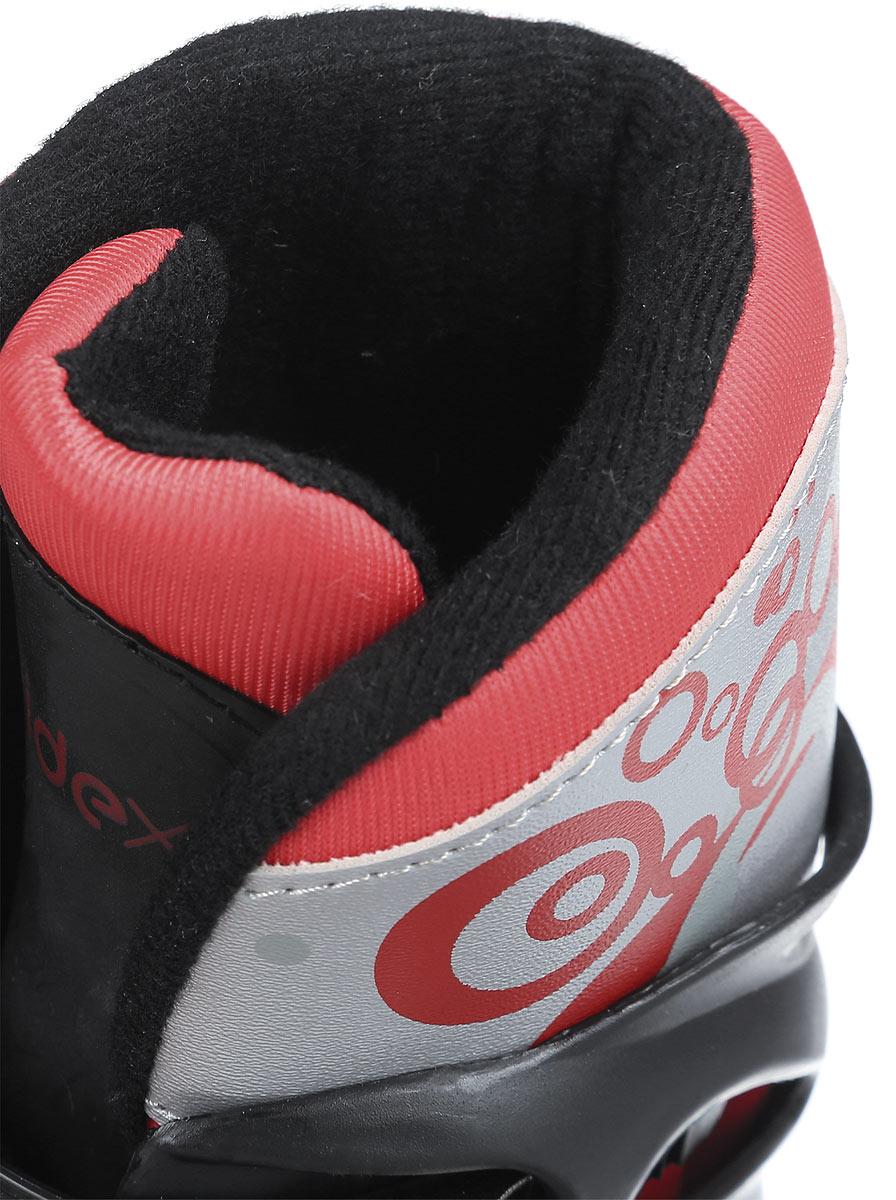 Коньки роликовые Ridex Rush, раздвижные, цвет:  черный, красный, серый.  УТ-00008096.  Размер 31/34 Ridex