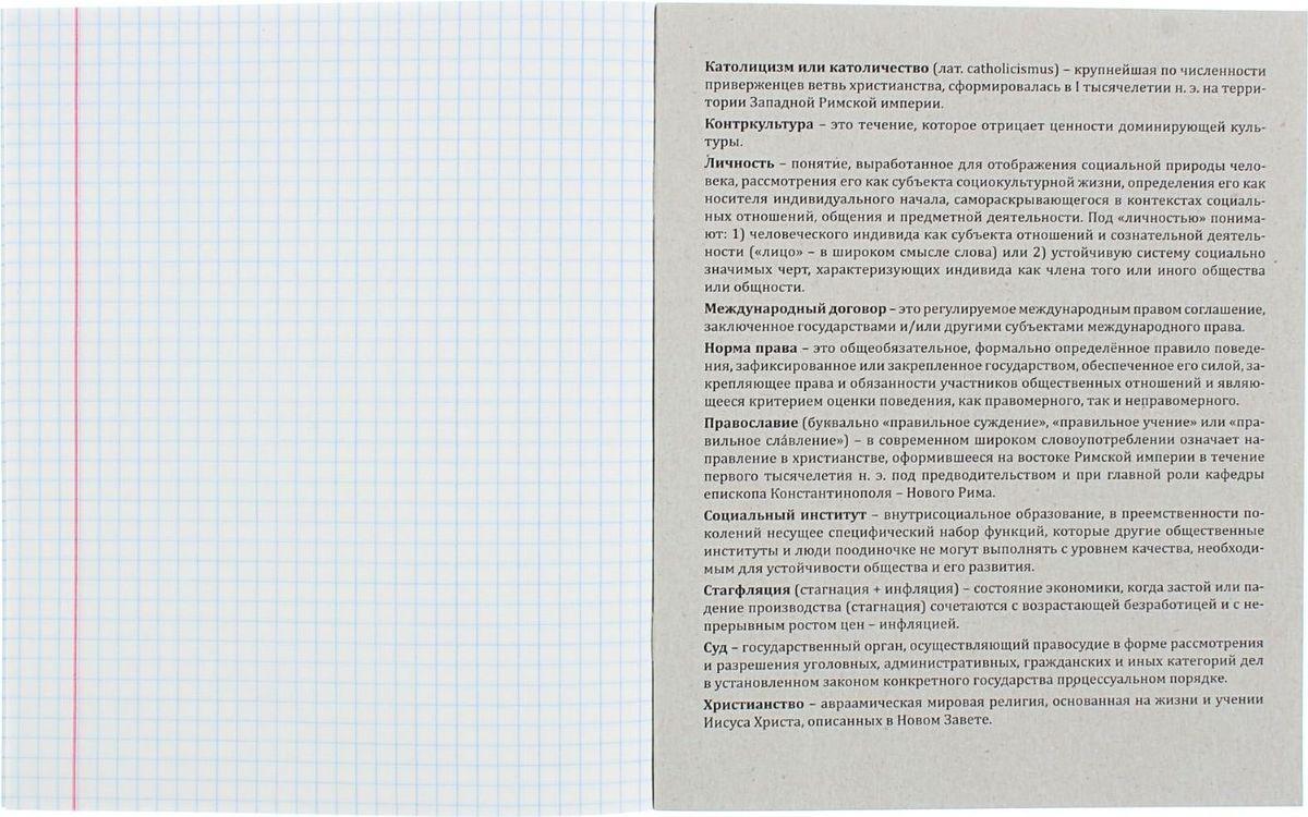Тетрадь Profit Обществознание пригодится вам в учебе для записей. На задней стороне обложки представлена информация об известных всемирных организациях. Прочная обложка из плотного картона сохранит ваши листы. Внутренний блок представлен 36 листами в клетку с очерченными полями. Тетрадь содержит справочный материал.