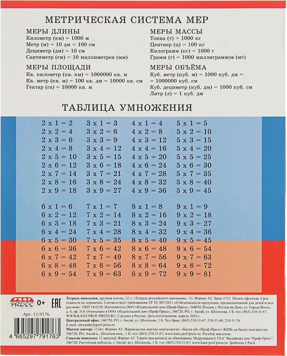 Тетрадь Проф-Пресс Тетрадь Российского школьника идеально подойдет для занятий учеников начальной школы.Внутренний блок тетради, соединенный двумя металлическими скрепками, состоит из 12 листов белой бумаги. Стандартная линовка в крупную клетку голубого цвета дополнена полями.На задней обложке тетради представлены таблица умножения, меры длины, площади, объема и массы.Тетрадь содержит некоторые факты о России.