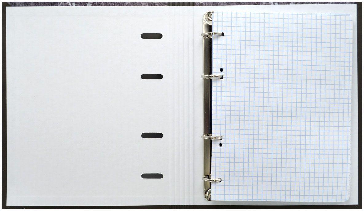 Тетрадь со сменным внутренним блоком. Жесткая обложка - 7БЦ, глянцевая ламинация. Большой кольцевой механизм. Внутренний блок - офсет плотностью 60 г/м2. Клетка. 120 листов. Формат А5.