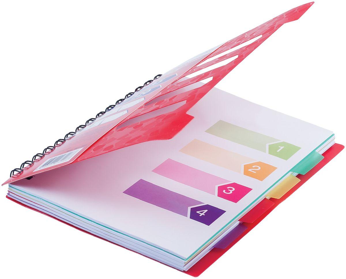 Оригинальная тетрадь на гребне с обложкой из цветного пластика. Удобная вырубка позволяет делать подписи на обложке, а четыре разноцветных разделителя облегчают поиск нужной информации.•Формат А5 (170х215 мм). •Обложка - пластик с текстурой и вырубкой. •Внутренний блок - офсет, 60 г/м2, линия. •120 листов. •4 съемных разделителя. •Скрепление - гребень. •4 вида в упаковке.