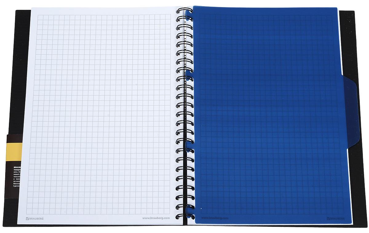 Практичная тетрадь-блокнот Brauberg Tag с пластиковой обложкой, защищающей внутренний блок от износа и деформации.Удобный съемный разделитель помогает лучше ориентироваться в записях. Внутренний блок тетради, соединенный металлическим гребнем, состоит из 80 листов белой бумаги. Стандартная линовка в клетку черного цвета без полей.