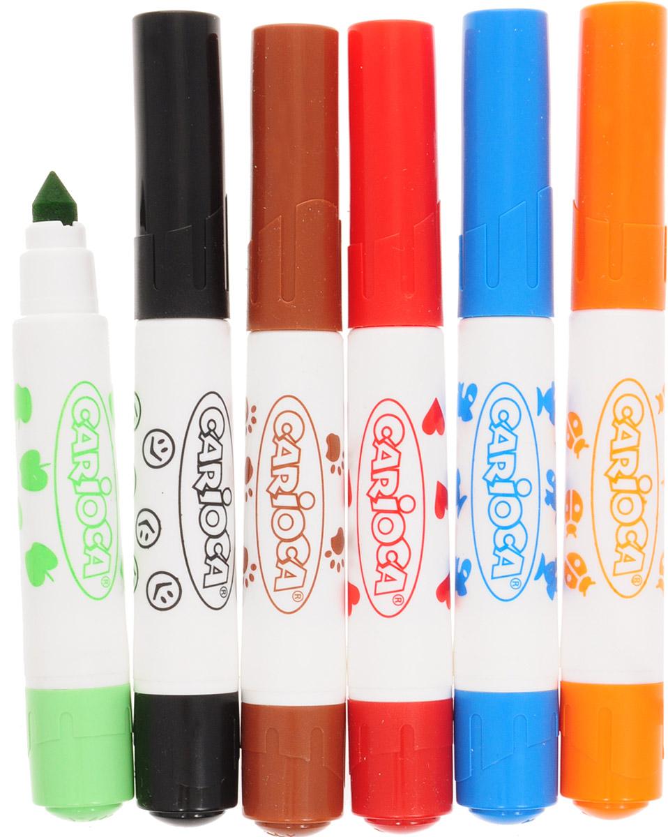 Ваш малыш не представляет свою жизнь без творчества? Он любит рисовать, лепить, делать разнообразные подделки?Фломастеры Carioca Stamp Markers - это отличный подарок для вашего ребенка, который приведет его в восторг, ведь с помощью них, ребенок сможет создавать новые яркие и красочные шедевры. Фломастеры имеют два наконечника: один обычный со стержнем для рисования, позволяющим рисовать как тонкую, так и толстую линию, и второй со штампиком. С помощью штампов можно украшать симпатичными сердечками, рыбками, смайликами различные поделки и открытки.Фломастеры изготовлены из нетоксичных материалов, которые абсолютно безопасны для ребенка, а также легко отстирываются и отмываются, что важно для родителей!Уважаемые клиенты! Обращаем ваше внимание на то, что упаковка может иметь несколько видов дизайна. Поставка осуществляется в зависимости от наличия на складе.
