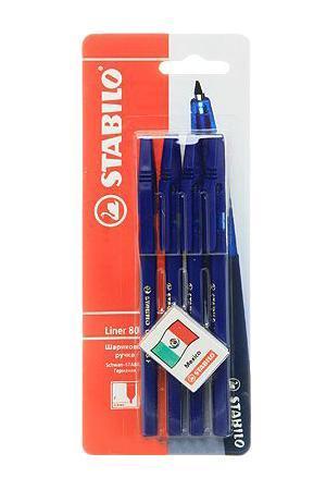 STABILO liner 808. Шариковая ручка с заменяемым стержнем. Удобная и практичная ручка, отличающаяся надежностью и длительностью письма. Специальная технология фиксирования пишущего шарика защищает от утечки чернил, обеспечивает тонкую аккуратную линию и мягкое скольжение. Толщина линии F-0,3 мм.