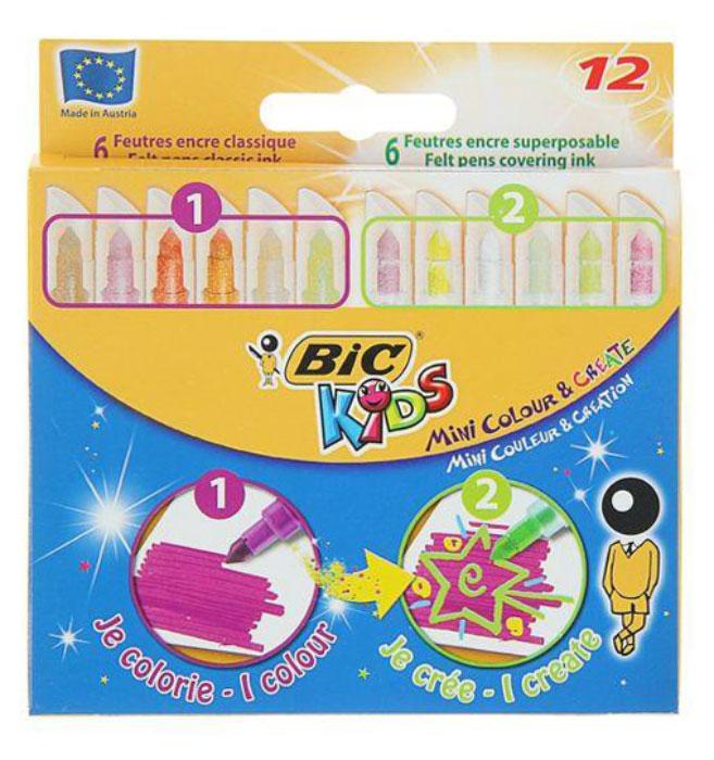 Набор Bic Mini включает 6 обычных и 6 тонирующих фломастеров, с помощью которых можно создавать специальные эффекты. Чернила на водной основе легко смываются с кожи, большинства материалов и отстирываются с одежды. Цветные фломастеры – это просто находка для маленьких любителей рисовать! Фломастеры оборудованы вентилируемым колпачком (в случае, если ребенок проглотит его, он сможет дышать). Конический пишущий узел позволяет рисовать как толстыми, так и тонкими линиями. Фиксированный пишущий узел не даст стержню провалиться даже при сильном нажатии. Идеальны для ежедневного использования детьми от 5 лет.  Уважаемые клиенты! Обращаем ваше внимание на возможные изменения в дизайне упаковки. Качественные характеристики товара остаются неизменными. Поставка осуществляется в зависимости от наличия на складе.