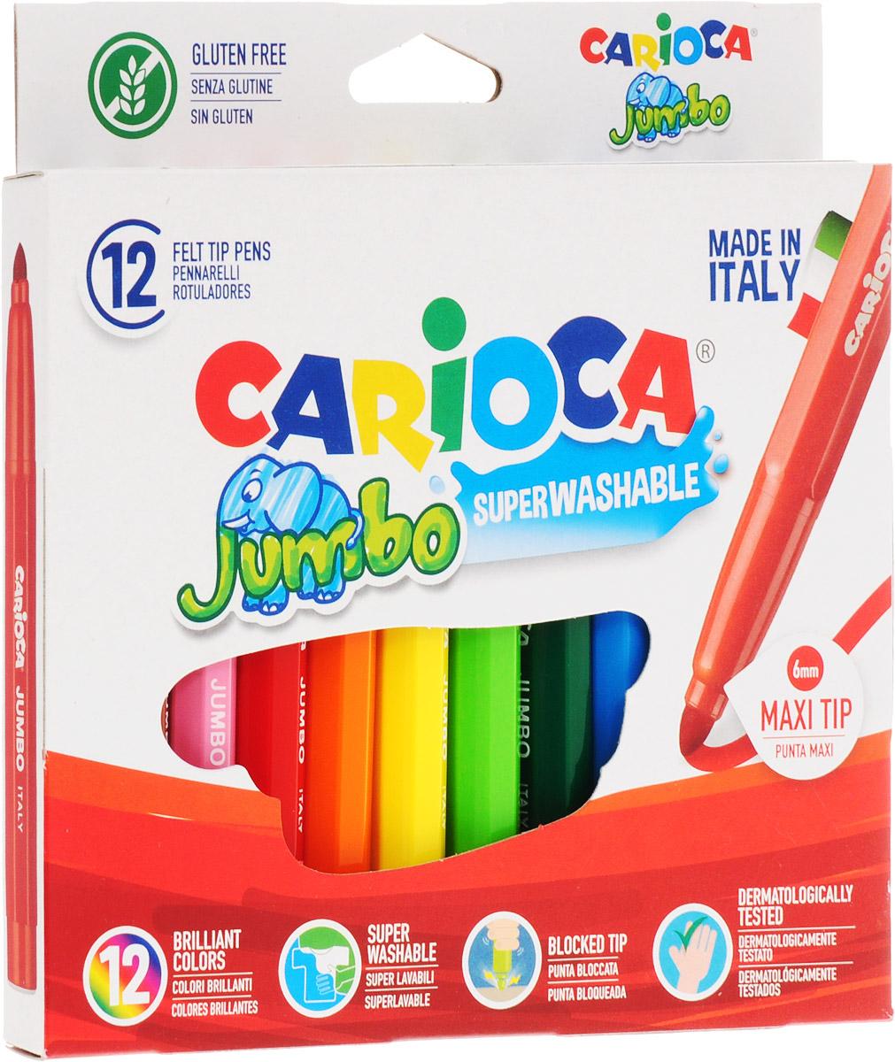 Фломастеры Carioca Jumbo, непременно, понравятся вашему юному художнику.  Набор включает в себя 6 ярких цветных фломастеров в удобном утолщенном корпусе с чернилами на водной основе и безопасными вентилируемыми колпачками. Такие фломастеры идеально подходят для малышей.  Порадуйте своего ребенка таким замечательным подарком! Характеристики:    Длина фломастера: 14 см.  Диаметр фломастера: 1,2 см.  Диаметр наконечника: 0,4 см. Размер упаковки: 17,5 см х 15 см х 1,5 см.Уважаемые клиенты! Обращаем ваше внимание на то, что упаковка может иметь несколько видов дизайна. Поставка осуществляется в зависимости от наличия на складе.