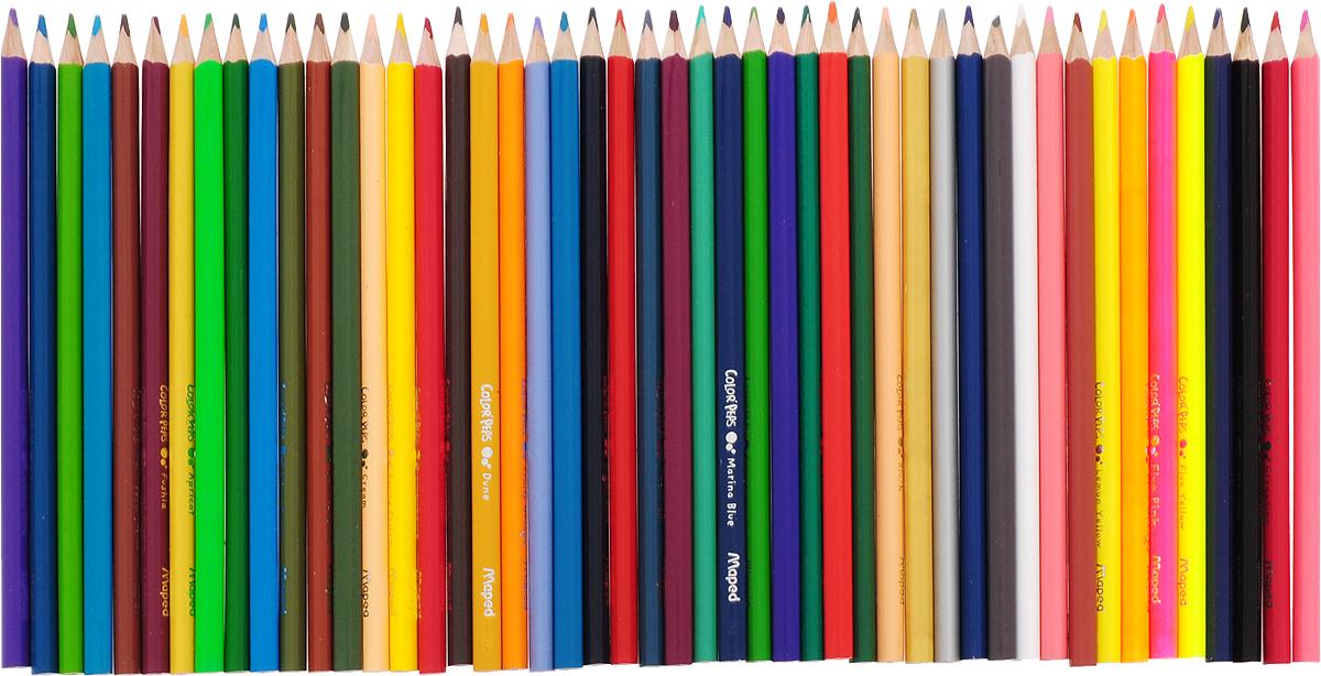 Карандаши цветные из американской липы, треугольные, ударопрочный грифель, в картонном футляре, 48 цветов.