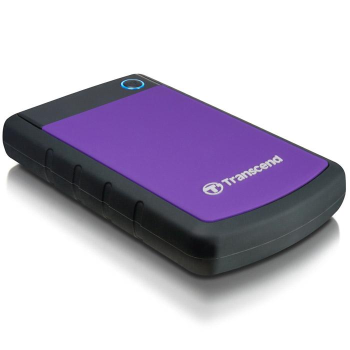 Transcend StoreJet 25H3 1TB, Purple внешний жесткий диск (TS1TSJ25H3P)TS1TSJ25H3PПортативный жесткий диск StoreJet 25H3 - это надежное устройство с отличными рабочими характеристиками USB 3.0, емкостью для хранения до 2 ТБ, что позволит хранить около 200 DVD фильмов, и 3-ступенчатой антиударной системой защиты, отвечающей жестким требованиям испытаний U.S. на падение. Устройство StoreJet 25H3 обладает высокой скоростью передачи информации до 90MB/сек., что делает его идеальным выбором для любителей высокой скорости. Передача изображений DVD фильмов возможна за менее, чем 1 минуту!Устройство StoreJet 25H3 отличает прекрасный дизайн - антискользящий резиновый корпус фиолетового или синего цвета, а также высокая степень защиты благодаря укрепленному внешнему кейсу и внутренней системе подвески, что предохраняет устройство от ударов. Также, устройство снабжено кнопкой для удобного быстрого автоматического резервного копирования в одно нажатие, что сделает процесс синхронизации данных и резервного копирования максимально быстрым и удобным.Совместимость с суперскоростным USB 3.0, а также с USB 2.0 с обратной стороныИзносостойкий противоударный внешний силиконовый корпусУсовершенствованная система внутренней подвески доя защиты жесткого дискаБольшая емкость для хранения информацииПростой режим работы Easy Plug and Play - нет необходимости в драйверахЭнергосберегающий спящий режимКнопка автоматического резервного копирования в одно нажатиеКомплектуется ПО Transcend Elite для защитыLED индикатор статуса передачи данныхДополнительно:• Буфер: 8 МБ• Совместимость: Windows XP/Vista/Win 7, Mac OS 9.0 и более поздние версии, Linux Kernel 2.4 и более поздние версии• Ударостойкий корпус