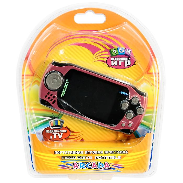 Портативная игровая приставка MegaDrive Portable Arcada (красная)VG-1629Игровая портативная приставка Mega Drive Portable Arcada со встроенным набором видеоигр не даст заскучать в дороге и дома, и доставит немало радости и удовольствия от прохождения самых интересных игр различных жанров, специально подобранных для всех категорий игроков. Аркадные стрелялки, казуальные головоломки, бродилки по мотивам популярных мультиков, гонки и спортивные симуляторы, логические игры - здесь есть все чтобы превратить Ваш досуг в увлекательное путешествие по миру виртуальной реальности! Приставка обладает большим экраном и возможностью подключения к телевизору!Отличный набор из 105 современных предустановленных игр разнообразных жанров доставит удовольствие и ребенку, и взрослому.