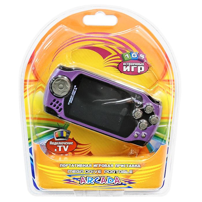 Портативная игровая приставка MegaDrive Portable Arcada (сиреневая)VG-1629Игровая портативная приставка Mega Drive Portable Arcada со встроенным набором видеоигр не даст заскучать в дороге и дома, и доставит немало радости и удовольствия от прохождения самых интересных игр различных жанров, специально подобранных для всех категорий игроков. Аркадные стрелялки, казуальные головоломки, бродилки по мотивам популярных мультиков, гонки и спортивные симуляторы, логические игры - здесь есть все чтобы превратить Ваш досуг в увлекательное путешествие по миру виртуальной реальности! Приставка обладает большим экраном и возможностью подключения к телевизору!Отличный набор из 105 современных предустановленных игр разнообразных жанров доставит удовольствие и ребенку, и взрослому.