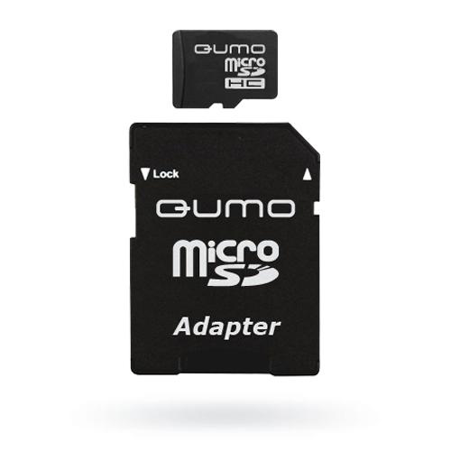 QUMO microSDHC Class 6 4GB + адаптерQM4GMICSDHC6Универсальная карта QUMO microSDHC расширяет память многофункциональных мобильных телефонов, цифровых камер, карманных компьютеров и других портативных устройств, поддерживающие данный формат карт. Идеально подходит для записи любых видов данных. Сохраните больше своих собственных коллекций музыки, видеороликов, кинофильмов, рингтонов, картин и фотографий!Внимание: перед оформлением заказа, убедитесь в поддержке Вашим электронным устройством карт памяти данного объема.