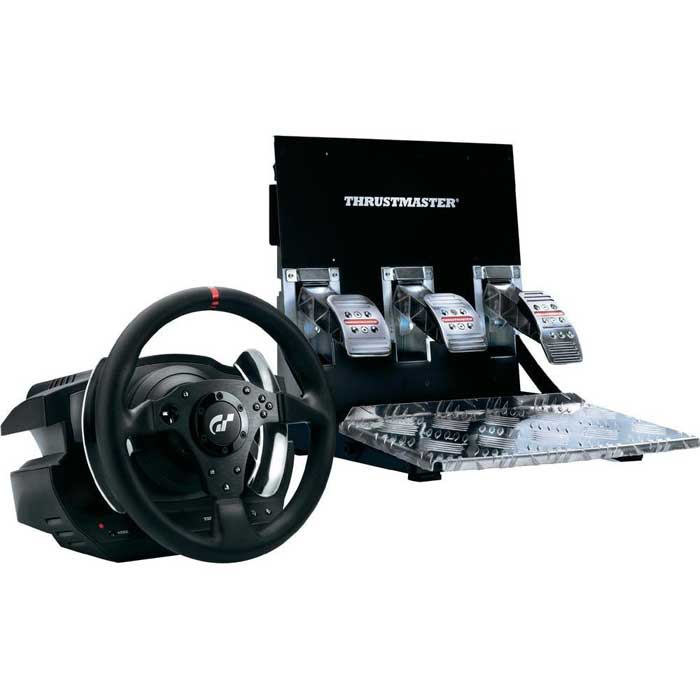 Thrustmaster T500RS GT Force Feedback (4160566)JS 82Thrustmaster представляет рулевую систему T500 RS с педальным блоком, разработанную специально для игры Gran Turismo 5. С новым комплектом геймеры смогут по-настоящему погрузиться в реалистичный и захватывающий мир гонки — никаких компромиссов!T500 RS — настоящий симулятор автомобиля, мощный и точный. Во время работы над этой моделью компания Thrustmaster опиралась на более чем 20-летний опыт и ставила перед собой единственную цель: разработать рулевую систему с педальным блоком, которая позволит геймерам не покидать трассу в GT5. Дизайнеры старались оправдать ожидания самых взыскательных игроков, учитывая при этом технические требования разработчиков этой эпохальной гоночной серии. Две официальные лицензии T500 RS — от Gran Turismo 5 и от PlayStation — результат уникального позиционирования продукта.Для любого стиля вождения:Рулевая система T500 RS, оптимизированная для Gran Turismo 5, легко поспорит по уровню реалистичности с настоящим автомобилем. Первое, что заметят игроки, — это ее вес: масса руля составляет 4,6 кг, педального блока — 7,3 кг. Кроме того, в глаза сразу бросается повсеместное применение металла: для подрулевых лепестков переключения передач, металлических перемычек (30 см в диаметре) и педального блока. Все это говорит об исключительной надежности механической конструкции.Thrustmaster T500 RS представляет из себя высокоточный руль с углом поворота 1080° и съемным рулевым колесом. Двойная ременная передача обеспечивает плавную мягкую отдачу, мощность мотора 60W, крутящий момент 150mNm, скорость 3000об/мин. Высокая точность руля в 65536 единиц достигается за счет магнитных сенсоров произведенных по запатентованной компанией Thrustmaster технологии H.E.A.R.T HallEffect. Цельнометаллические подрулевые лепестки прикреплены к основанию руля и вместе с рулевым колесом не вращаются. Ручка переключения передач отсутствует, Thrustmaster будет поставлять это отдельным блоком и видимо за отдельную плату.Цел