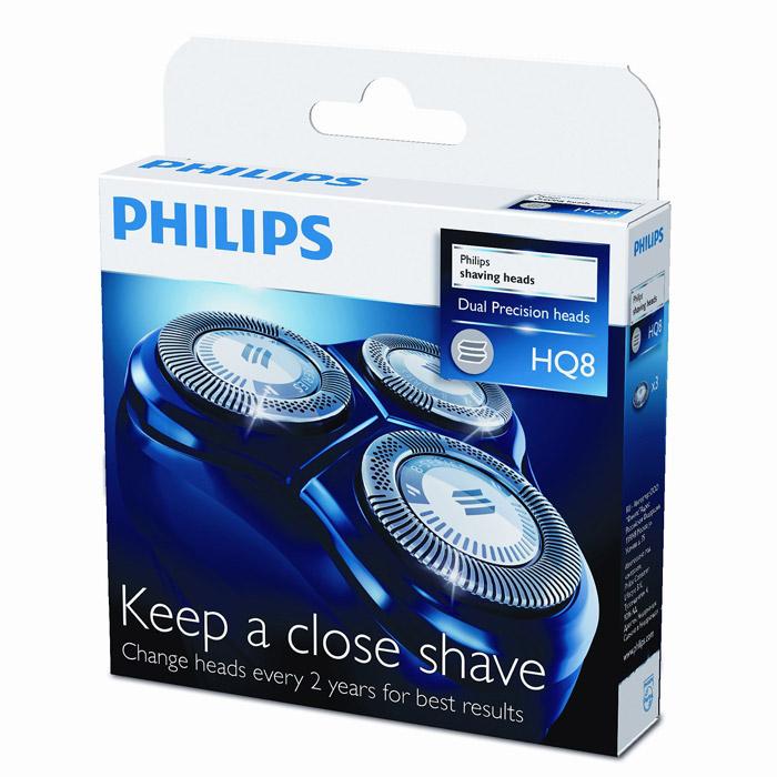 Philips HQ 8/50HQ8/50Бритвенные головки Philips HQ 8/50.Ежегодно лезвия преодолевают высоту Эвереста... 49 раз! От такой работы даже лучшие материалы могут утратить свою остроту. Поддерживайте идеальное качество работы бритвы — заменяйте головки через каждые 2 года.Технология Lift & CutСистема двойных лезвий: первое лезвие приподнимает волосок, а второе — срезает его у самого основания, что обеспечивает более чистое бритье.Прецизионная бреющая системаСверхтонкие бритвенные головки с прорезями, позволяющими сбривать длинные волосы, и уникальными микроотверстиями для удаления едва заметной щетины.Бритвенные головкиСпециальный профиль бритвенных головок обеспечивает равномерный контакт с кожей для комфортного бритья.Подходит для: HQ7100, HQ7140, HQ7160, HQ7180, HQ7200, HQ7240, HQ7290, HQ7742, HQ7760, HQ7762, HQ7780, HQ7782, HQ8445, HQ8830, HQ8850, HQ8870, HQ8880, HQ8882, HQ8890, HQ8894, AT750, AT751, AT890, AT891, HQ7120, HQ7141, HQ7142, HQ7143, HQ7165, HQ7260, HQ7300, HQ7310, HQ7320, HQ7330, HQ7340, HQ7350, HQ7360, HQ7363, HQ7380, HQ7390, HQ7890, HQ8825, HQ8845, HQ8865, HQ8875, HQ8885, HQ8893, PT710, PT715, PT720, PT725, PT730, PT735, PT860, PT870
