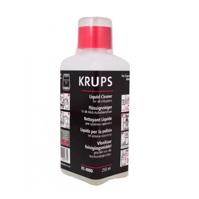 Krups XS4000 Чистящее средствоXS400010Krups XS400010 — это отличная жидкость для очистки капучинатора, которая разработана специально для данной процедуры. Средство удаляет остатки молока в насадках и трубках. Оно абсолютно безвредно для пищевых продуктов, не имеет вкуса.
