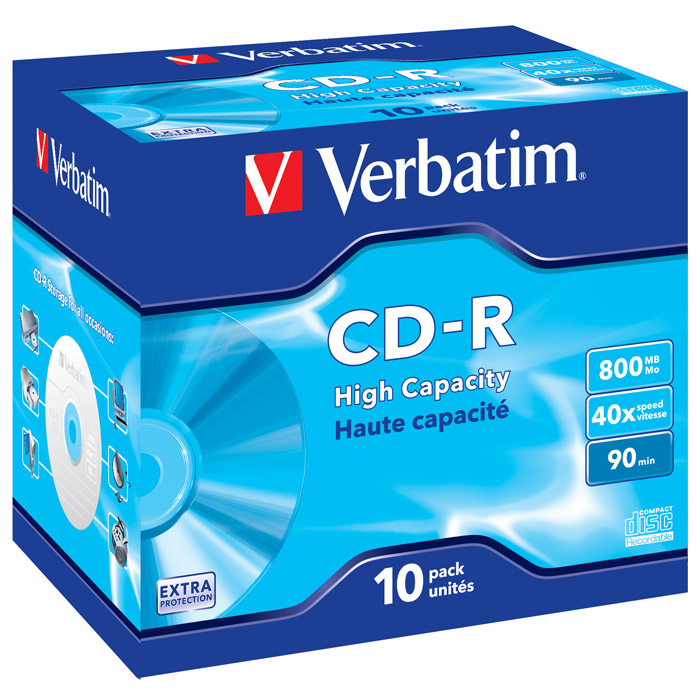 Verbatim CD-R 800MB, 40x, 10шт, Jewel Case