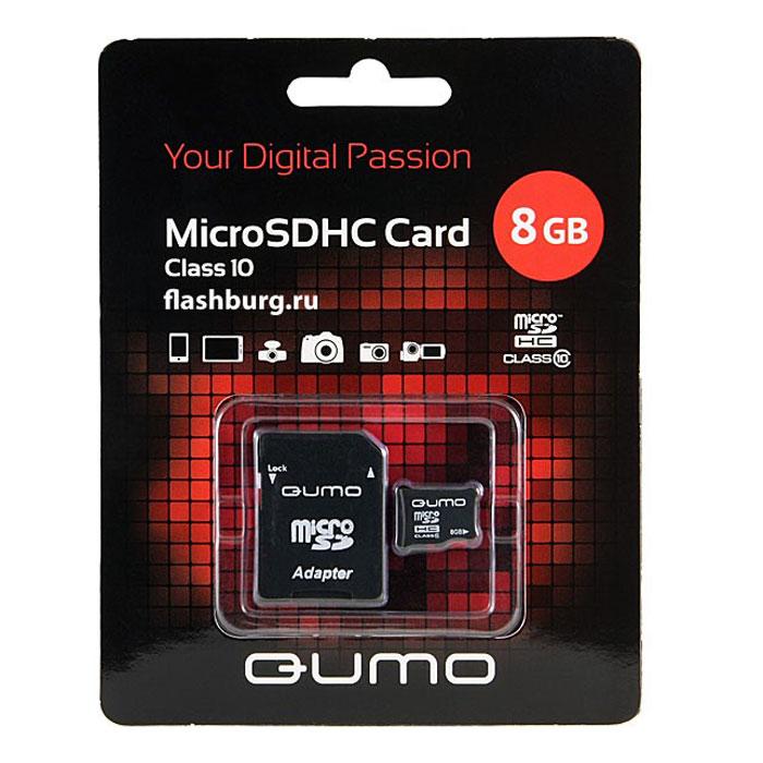QUMO microSDHC Сlass 10 8GB карта памяти + адаптерQM8GMICSDHC10Универсальная карта QUMO microSDHC расширяет память многофункциональных мобильных телефонов, цифровых камер, карманных компьютеров и других портативных устройств, поддерживающие данный формат карт. Идеально подходит для записи любых видов данных. Сохраните больше своих собственных коллекций музыки, видеороликов, кинофильмов, рингтонов, картин и фотографий!Внимание: перед оформлением заказа убедитесь в поддержке вашим электронным устройством карт памяти данного объема.