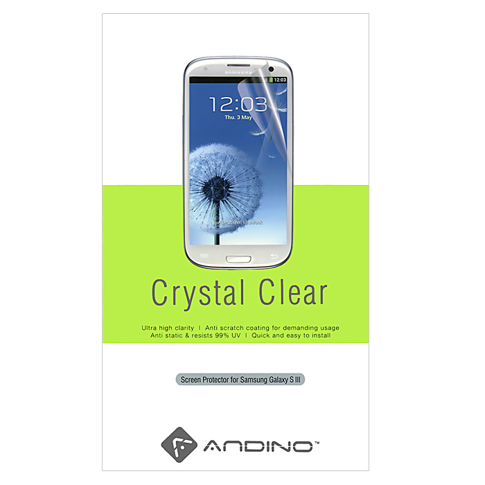 Andino защитная пленка для Samsung Galaxy S III, глянцеваяSP-138Защитная пленка Andino защитит Ваш смартфон Samsung Galaxy S III от пыли, грязи и царапин.