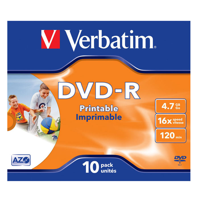 Verbatim DVD-R 4.7GB, 16x, 10шт, Jewel Case, Printable (43521)