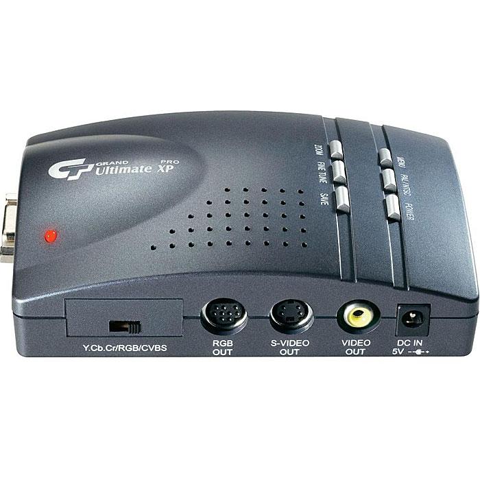 Grand Ultimate XP ProUltimate XP ProGrand Ultimate XP Pro - это высококачественный универсальный преобразователь видеосигнала, разработанный на базе технологии покадровой буферизации, позволяющий преобразовать стандартный цифровой компьютерный VGA видеосигнал в высококачественный и стабильный аналоговый видеосигнал. Этот конвертер может быть использован для проведения компьютерных презентаций на телевизорах, плазменных и жидко-кристаллических панелях с большой диагональю и для высококачественной записи видео материалов, произведенных на компьютере на видеомагнитофон. Набор дополнительных функций позволяет точно настроить картинку видеоизображения для качественной демонстрации или записи, увеличив ее, расположив ее в центре экрана и удалить черную рамку по краям.Функция 2D масштабирования позволяет удалить черную рамку при воспроизведении на телевизоре и записи на видеомагнитофонКнопки управления функциями тонкой настройки, переключение видеосистемы, масштабирования, позиционирования изображения, сохранения настроек и включения питания.Управление функциями горизонтального и вертикального позиционирования, заморозки, настройки яркости, контрастности, hue, saturation, мерцания через экранное меню.