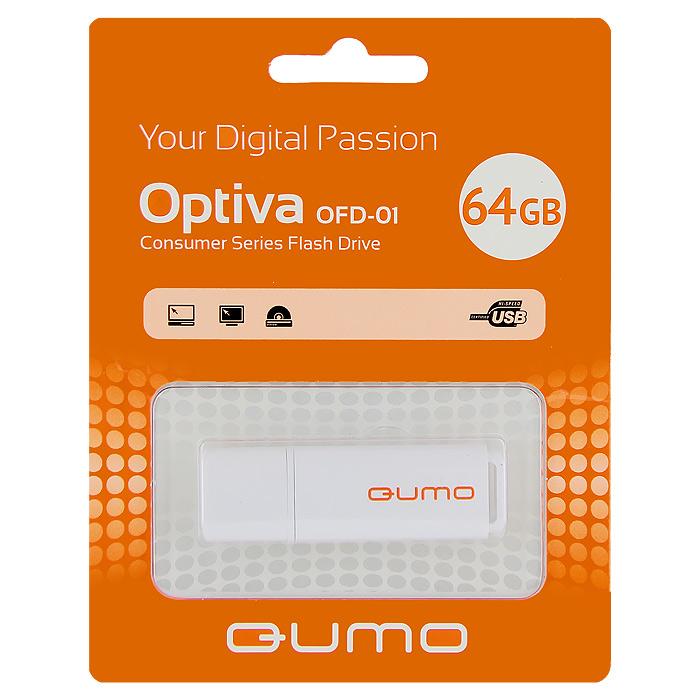 QUMO Optiva 01 64GB, WhiteQM64GUD-OP1-whiteФлэш-накопитель QUMO Optiva 01 идеально подходит для записи любой информации, надежно сохраняет и передает важные данные, песни, снимки.