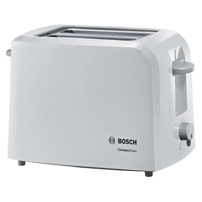 Bosch TAT3A011 тостерTAT3A011Тостер Bosch TAT3A011 станет еще одним членом вашей семьи, ведь мало кто откажется полакомиться поджаренным хрустящим кусочком хлеба или горячей булочкой. С их появлением вам уже не придется заставлять ребенка позавтракать – он сможет самостоятельно приготовить себе вкусное блюдо без малейшей опасности доля здоровья.Оригинальный дизайн и яркая цветовая гамма тостеров Bosch позволят им стать настоящим украшением вашей кухни. Тостеры Bosch TAT3A011 помогут приготовить за раз два кусочка хлеба, а степень поджаренности вы можете выбрать самостоятельно при помощи терморегулятора. Тостеры Bosch TAT3A011 оснащены функцией автоматического центрирования для равномерной обжарки, а также съемным поддоном для крошек, который значительно упростит уход за прибором.