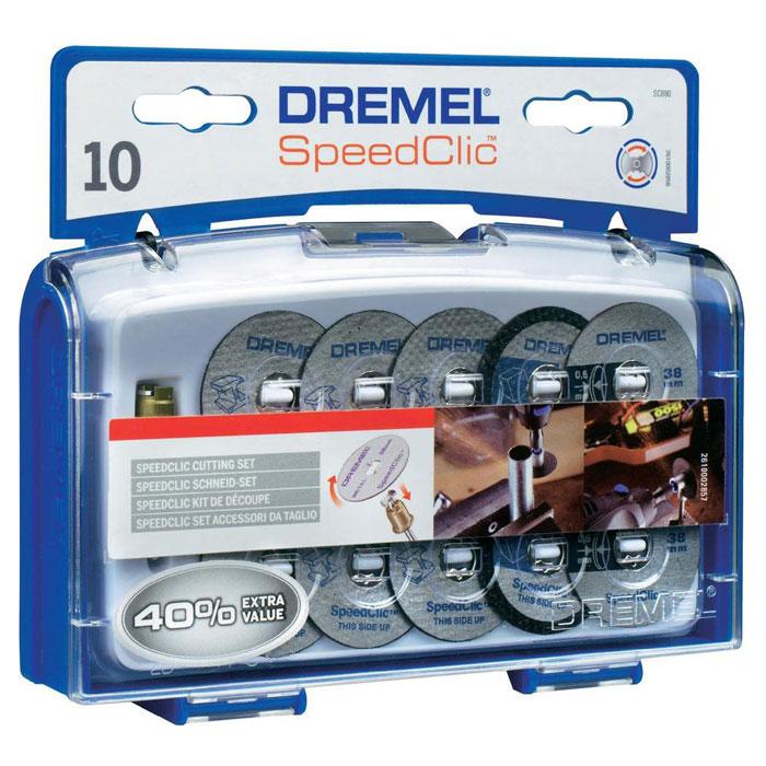 Набор отрезных кругов c держателем, 10 шт. Dremel SC690 (2615S690JA)2615S690JAКомплект насадок Dremel SC690 включает в себя 10 отрезных кругов SpeedClic и специальный держатель SpeedClic. Помимо 6 обычных металлических отрезных кругов диаметром 38 мм в набор также входят 2 специальных тонких отрезных круга и 2 уникальных круга для резки пластика. SpeedClic - это уникальная система для быстрой смены насадок роторного инструмента.