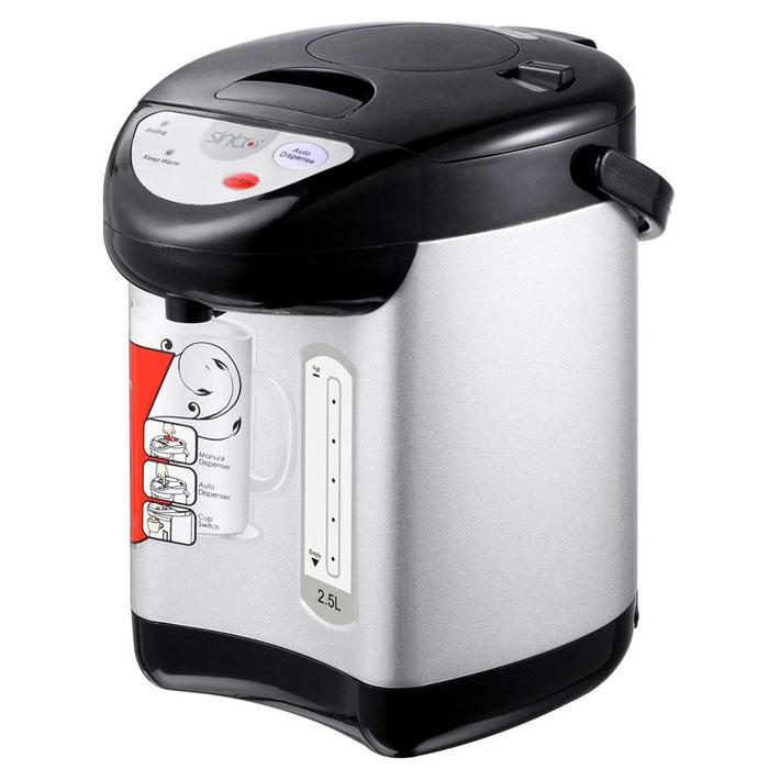 Sinbo SK 2394 термопот8693807210509Термопот Sinbo SK 2394 - это чайник и термос с электронным управлением в одной емкости. Работает термопот очень просто и быстро. После закипания вода поддерживается определенной температуры, что позволяет тратить меньше минуты на повторный подогрев воды и в то же время экономить электричество.Термопот Sinbo SK 2394 в отличие от обыкновенного чайника, имеет объем в 2,5 литра, что позволит за одно кипячение напоить около 10 человек. Потребляемая мощность термопота составляет 730 Вт, что значительно ниже, чем у чайника. Термопот Sinbo SK 2394 очень удобен для использования в офисах, маленьких кафе, в большой семье. Им легко пользоваться, достаточно залить воду и нажать кнопку. Стильный дизайн и эргономичная форма термопота Sinbo SK 2394 подойдет для любой кухни.Термопот оборудован верхней ручкой и легко транспортируется, его всегда можно взять на дачу или турбазу.Уход не требует дополнительных усилий или специальных средств, корпус достаточно протирать влажной губкой, а благодаря большой поверхности нагрева, на нем образуется минимальное количество накипи, которую легко удалить при помощи лимонной кислоты.