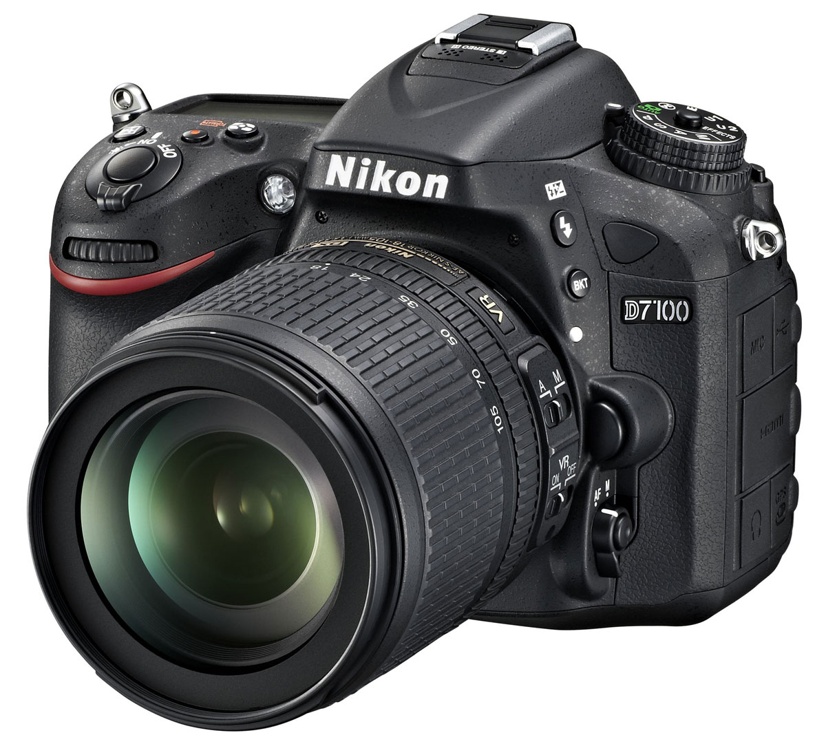 Nikon D7100 Kit 18-105 VR цифровая зеркальная фотокамераVBA360K001Производительная 24,1-мегапиксельная фотокамера Nikon D7100 формата DX позволит любителям фотосъемки создавать незабываемые динамичные фотографии. Эта многофункциональная, чрезвычайно легкая и компактная модель, заключенная в прочный корпус, позволяет расширить возможности фотосъемки. Благодаря 51-точечной системе АФ фотокамеры Nikon D7100 Вы можете воплощать в жизнь свое творческое видение на профессиональном уровне и при этом получать превосходные фотографии с высоким уровнем детализации, а также четкие и резкие видеоролики в формате Full HD.Расширенные возможности для получения изображений превосходного качества:Фотокамера Nikon D7100 оснащена множеством различных функций, благодаря которым перед Вами открываются неограниченные возможности для съемки, а также достигается невиданное ранее качество изображений. Мощная КМОП-матрица формата DX с разрешением 24,1 мегапикселя гарантирует получение резких и детализированных изображений. За счет того, что не применяется оптический низкочастотный фильтр (OLPF), мегапиксели матрицы используются максимально, и это позволяет достичь необычайно высокого разрешения. Полученные изображения отличаются исключительной резкостью, что обеспечивает сверхвысокую передачу даже таких текстур с мельчайшими деталями, как волосы или перья. Кроме того, использование процессора EXPEED 3 для обработки изображений обеспечивает высокоскоростную работу фотокамеры, а также точное воспроизведение цвета и более эффективное понижение шума.Профессиональная 51-точечная система автофокусировки:Система АФ фотокамеры Nikon D7100 обеспечивает производительность, характерную для профессиональных фотокамер, за счет использования того же алгоритма, который применяется в фотокамерах D4. Использование 51 точки фокусировки с 15 датчиками перекрестного типа в центральной зоне позволяет достичь идеальной точности и «захвата» объекта. Более быстрое начальное определение АФ позволяет быстро сфокусиро
