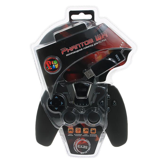 Беспроводной геймпад EXEQ Phantom WR для PS3 / PCeq-uni-02110Беспроводнойгеймпад Phantom WR - это оригинальное решение для игроков, которым важны не только внешний вид и эргономичный дизайн, а такие факторы как: функциональность, точность в управлении, надежность и возможность подключения как к компьютеру, так и к игровой системе Playstation 3. Встроенный аккумулятор позволит более 10 часов провести за игрой без подзарядки.Геймпад обладает 12 программируемыми кнопками и двумя чувствительными аналоговыми джойстиками, что позволяет не использовать другие устройства ввода во время игры. Уникальное расположение триггеров, эргономичная форма геймпада, прорезиненная поверхность призваны создать дополнительный комфорт при использовании геймпада.
