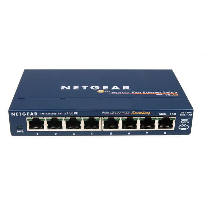 NetGear FS108-200PES коммутаторFS108-200PESКоммутатор NetGear FS108-200PES - надежное и мощное устройство, обеспечивает в локальной сети высокоскоростное подключение 10/100 Mbps с автоматическим определением скорости для 8 пользователей. Нужно только подключить кабель Ethernet и силовой кабель и коммутатор готов к работе – не нужно конфигурировать программное обеспечение. Коммутатор автоматически настраивается на максимальную скорость и с помощью технологии Auto Uplink сам определяет, какое соединение требуется для линка – напрямую или кроссовое. Старые устройства 10BASE-T легко интегрируются в высокоскоростную сеть со скоростью физической среды на всех портах 10 Mbps либо 100 Mbps. В коммутаторе нет встроенных вентиляторов, поэтому он работает бесшумно. Имеет прочный металлический корпус, что гарантирует их надежную работы в течение нескольких лет.Компактность:Для этого устройства с компактным, но прочным корпусом, легко найти место в небольшом помещении. Он идеально подходит для переговорных комнат, классов и небольших офисов. Можно разместить как на плоской поверхности, так и на стене с помощью монтажного комплекта, входящего в комплект поставки.Простота использования:Сразу после подключения коммутатор готов к работе! Благодаря автоматическому определению скорости не будет проблем при выборе скорости и дуплексного режима, а Auto Uplink автоматически настраивает соединение MDI/MDI-X. Не нужно выставлять переключатели или использовать специальные кроссовые кабели.