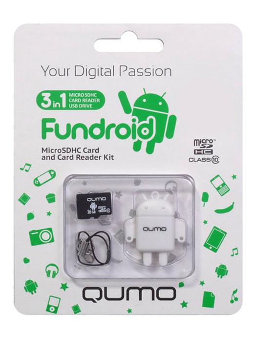 QUMO microSDHC Class 10 16GB + картридер/USB накопитель Fundroid, WhiteQM16GCR-MSD10-FD-WHTКомплект Fundroid является идеальным решением класса «3-в-1» для тех, кто ценит функциональность и необычный дизайн. Во-первых, это высокоскоростная карта памяти для вашего мобильного устройства. Во-вторых, стильный картридер, который позволит вам оперативно обмениваться информацией. А в третьих, будучи совмещёнными друг с другом, они могут использоваться как высокоскоростной влагозащищенный USB-накопитель. Технология производства флэш-карты обеспечивает влагозащитные качества.В комплект входит: яркий, удобный, легкий USB картридер в форме робота — всем знакомого символа операционной системы Android™ скоростная карта MicroSDHC class 10 (скорость записи 10 MB/s) c логотипом Android™шнурок с карабинчикомКомплект Fundroid является идеальным решением класса «3-в-1» для тех, кто ценит функциональность и необычный дизайн. Во-первых, это высокоскоростная карта памяти для вашего мобильного устройства. Во-вторых, стильный картридер, который позволит вам оперативно обмениваться информацией. А в третьих, будучи совмещёнными друг с другом, они могут использоваться как высокоскоростной влагозащищенный USB-накопитель. Технология производства флэш-карты обеспечивает влагозащитные качества.