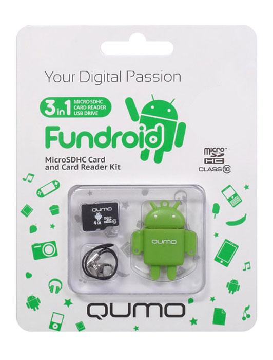 QUMO microSDHC Class 10 16GB + картридер/USB накопитель Fundroid, GreenQM16GCR-MSD10-FD-GRNКомплект Fundroid является идеальным решением класса «3-в-1» для тех, кто ценит функциональность и необычный дизайн. Во-первых, это высокоскоростная карта памяти для вашего мобильного устройства. Во-вторых, стильный картридер, который позволит вам оперативно обмениваться информацией. А в третьих, будучи совмещёнными друг с другом, они могут использоваться как высокоскоростной влагозащищенный USB-накопитель. Технология производства флэш-карты обеспечивает влагозащитные качества.В комплект входит: яркий, удобный, легкий USB картридер в форме робота — всем знакомого символа операционной системы Android™ скоростная карта MicroSDHC class 10 (скорость записи 10 MB/s) c логотипом Android™шнурок с карабинчикомКомплект Fundroid является идеальным решением класса «3-в-1» для тех, кто ценит функциональность и необычный дизайн. Во-первых, это высокоскоростная карта памяти для вашего мобильного устройства. Во-вторых, стильный картридер, который позволит вам оперативно обмениваться информацией. А в третьих, будучи совмещёнными друг с другом, они могут использоваться как высокоскоростной влагозащищенный USB-накопитель. Технология производства флэш-карты обеспечивает влагозащитные качества.