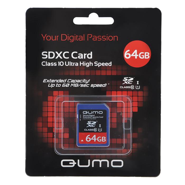 QUMO SDXC Class 10 UHS-1 64GB карта памятиQM64GSDXC10Скоростная карта памяти SDXC Class 10 позволяет осуществлять расширение памяти цифровых плееров, цифровых фотоаппаратов и видеокамер, коммуникаторов,смартфонов,интернет планшетов и других совместимых устройств. Кроме того, карты памяти QUMO являются качественным решением для хранения и переноса различного рода информации, такой как, музыкальный файлы,фотографии, электронные документы и другие важные для Вас файлы.Внимание!Карты памяти SDXC предназначены для использования только в устройствах, поддерживающих формат SDXC! Не пытайтесь отформатировать карту памяти SDXC в устройстве, предназначенном для карт SD/SDHC! Это приведёт к необратимому повреждению карты памяти! Формат SDXC поддерживается операционными системами Windows 7, Vista, Server 2008 и MacOS X версии 10.5.6 и выше. Использование карты SDXC под Windows XP SP2 возможно после установки драйвера., который Вы сможете скачать на сайте QUMO в разделе «Поддержка»: http://www.qumo.ru/files/. Работа с SDXC в прочих операционных системах пока невозможна.Во избежание потери информации и порчи карты памяти перед её извлечением убедитесь, что обмен данными с картой полностью окончен или не ведётся. Физически извлекайте устройство только после предусмотренного системой программного извлечения (в ОС Windows — «Безопасное извлечение устройства»).