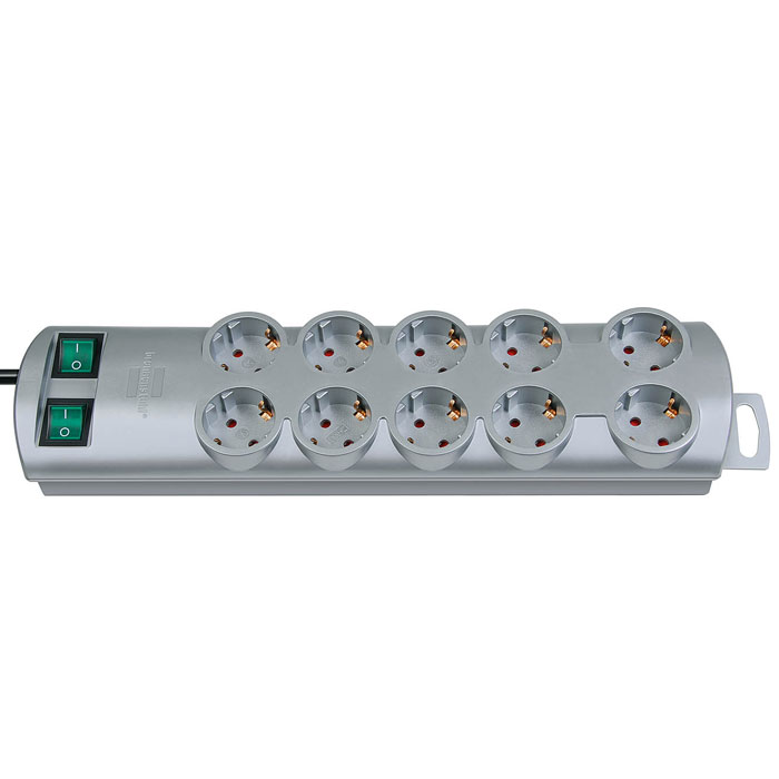 Brennenstuhl Primera-Line удлинитель на 10 розеток, Silver1153390120Удлинитель на 10 розеток Brennenstuhl Primera-Line с возможностью выведения кабеля с разных сторон устройства.Кабельный зажим для хранения излишков кабеляУдобное расстояние между розеткамиВозможность настенного монтажаРозетки защищены от детейДвухполюсный выключательТип кабеля: H05VV-F 3G1,5