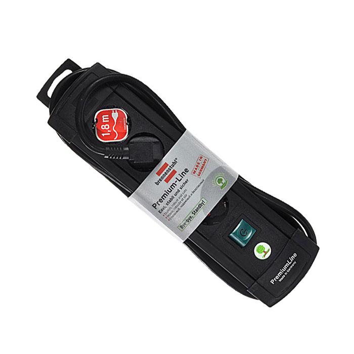 Brennenstuhl Premium-Line удлинитель на 4 розетки 1.8 м, Black1755110014Удлинитель на 4 розетки Brennenstuhl Premium-Line предназначен для подключения различных приборов и устройств к электросети. Надежные гнезда розеток сделаны из специального ударопрочного пластика.Все розетки заземлены и расположены под углом 45°Возможность намотки кабеля для храненияРозетки с защитой от детейТип кабеля: H05VV-F 3G1,5