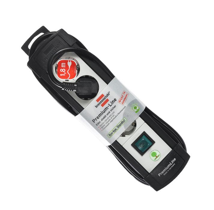 Brennenstuhl Premium-Line удлинитель на 4 розетки 1.8 м, Black Grey1755150014Удлинитель на 4 розетки Brennenstuhl Premium-Line предназначен для подключения различных приборов и устройств к электросети. Надежные гнезда розеток сделаны из специального ударопрочного пластика.Все розетки заземлены и расположены под углом 45°Возможность намотки кабеля для храненияРозетки с защитой от детейТип кабеля: H05VV-F 3G1,5