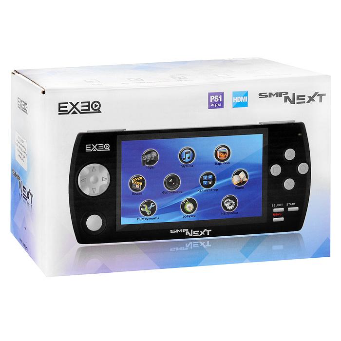 Портативная игровая консоль EXEQ SMP NEXT (черная)МР-1008EXEQ SMP NEXT –продолжение популярной игровой консоли EXEQ SMP- еще больше возможностей в одном портативном устройстве, еще больше эмоций в игре! Главные особенности приставки - широкоформатный экран, поддержка игр формата GBA и PS1, просмотр фильмов в HD-качестве, вывод изображения на TV при помощи HDMI кабеля и, конечно же, масса мультимедийных возможностей: MP3-плеер, диктофон, фото- и видеокамера, электронная книга и многое другое.