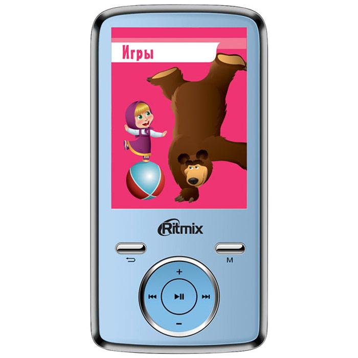 Ritmix RF-7650M 4GB, Blue mp3-плеерRITMIX RF-7650MСпециальная серия портативной техники для детей Ritmix kids: Маша и Медведь. Ritmix RF-7650 M - многофункциональный плеер, который в своем компактном корпусе совмещает множество полезных функций: это воспроизведение аудио и видеофайлов, отображение текстовых и графических документов, фото- и видеосъемка, а также работа в режиме веб-камеры.Поддержка карт памяти до 16 Гб, макс. class 6 Радио: FM (87 - 108 МГц), память на 20 радиостанций Фотографирование: 2048 x 1536 пикселей (3 млн. пикс.)