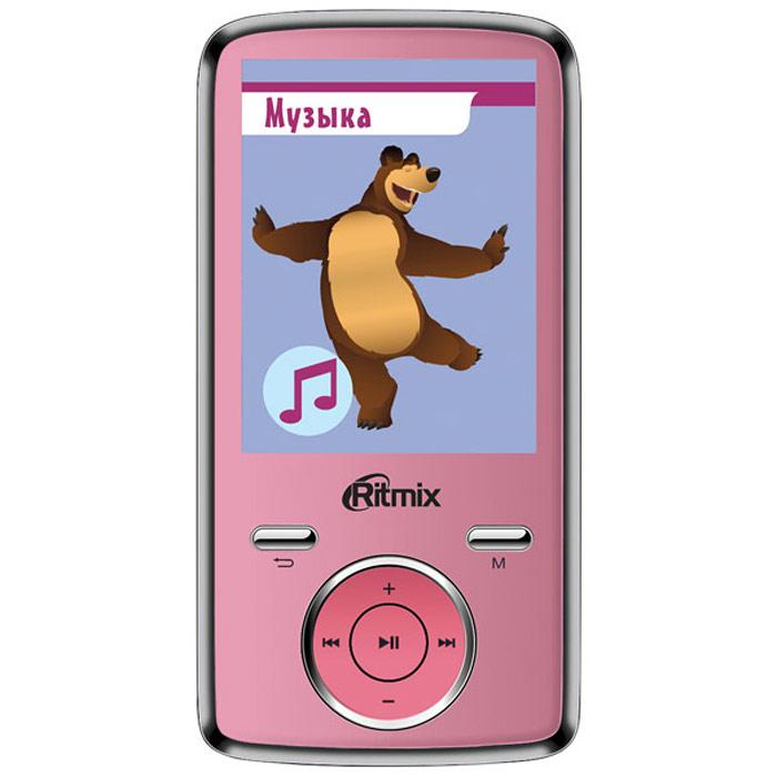 Ritmix RF-7650M 4GB, Pink mp3-плеерRITMIX RF-7650MСпециальная серия портативной техники для детей Ritmix kids: Маша и Медведь. Ritmix RF-7650 M - многофункциональный плеер, который в своем компактном корпусе совмещает множество полезных функций: это воспроизведение аудио и видеофайлов, отображение текстовых и графических документов, фото- и видеосъемка, а также работа в режиме веб-камеры.Поддержка карт памяти до 16 Гб, макс. class 6 Радио: FM (87 - 108 МГц), память на 20 радиостанций Фотографирование: 2048 x 1536 пикселей (3 млн. пикс.)