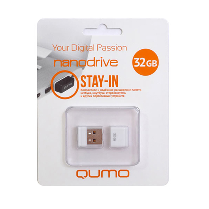 QUMO Nano 32GB, WhiteQM32GUD-NANO-WQUMO Nano USB flash-накопитель отличается своей компактностью, идеально подходит для ноутбуков, нетбуков, а также для прослушивания музыки в автомобилях.