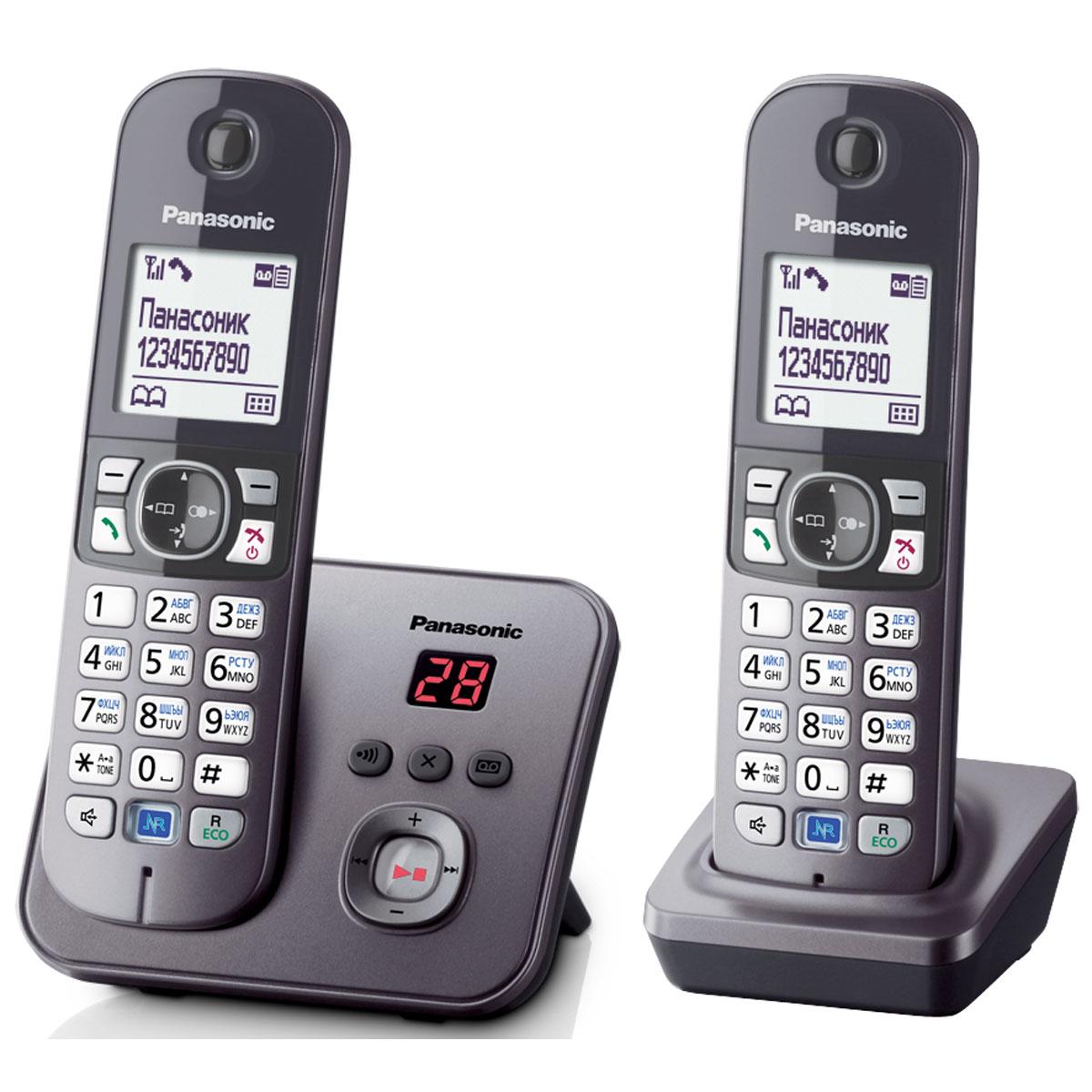 Panasonic KX-TG6822 RUM DECT телефонKX-TG6822RUMDECT телефон Panasonic KX-TG6822RUM.Функция радионяня - вы можете осуществлять акустический контроль помещения, например, детской из других комнат в доме - одна трубка устанавливается рядом с ребенком, а вторая - у родителей.Снижение фонового шума позволяет улучшить качество связи.Panasonic KX-TG6822RUM имеет в комплекте дополнительную трубку.блокировка клавиатурырусифицированное менючасы, дата на дисплеебудильник с повторным сигналом и установкой по дням неделиповторный набор