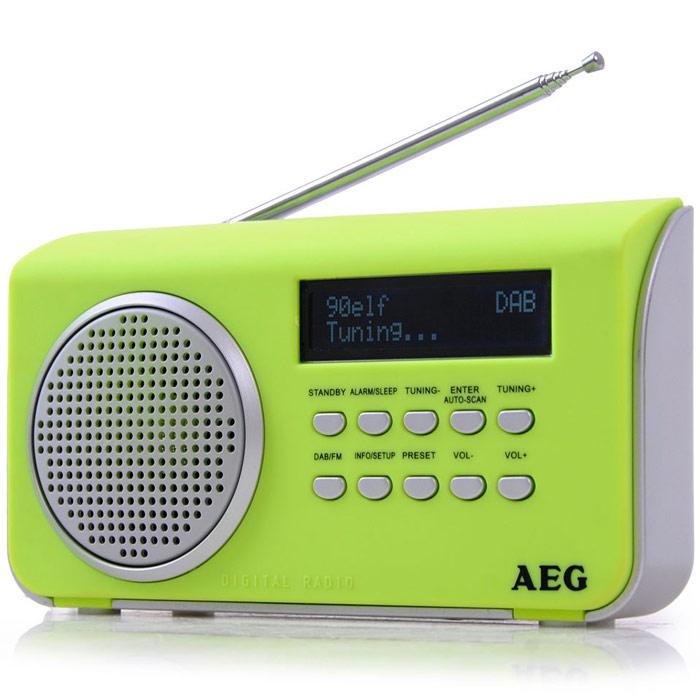 AEG DAB 4130, Green радиоприемникDAB 4130 grunПортативный радиоприемник AEG DAB 4130.AUX-INЖК-дисплейРежим ожиданияСпящий режимСенсорный корпусТелескопическая антеннаАвтоматический и ручной поиск10 ячеек памяти для радиостанцийDAB+ радио: большое количество разнообразных программ благодаря цифровому, безупречному приему, а также дополнительная информация по программамРежим работы от батарей: 4 х АА