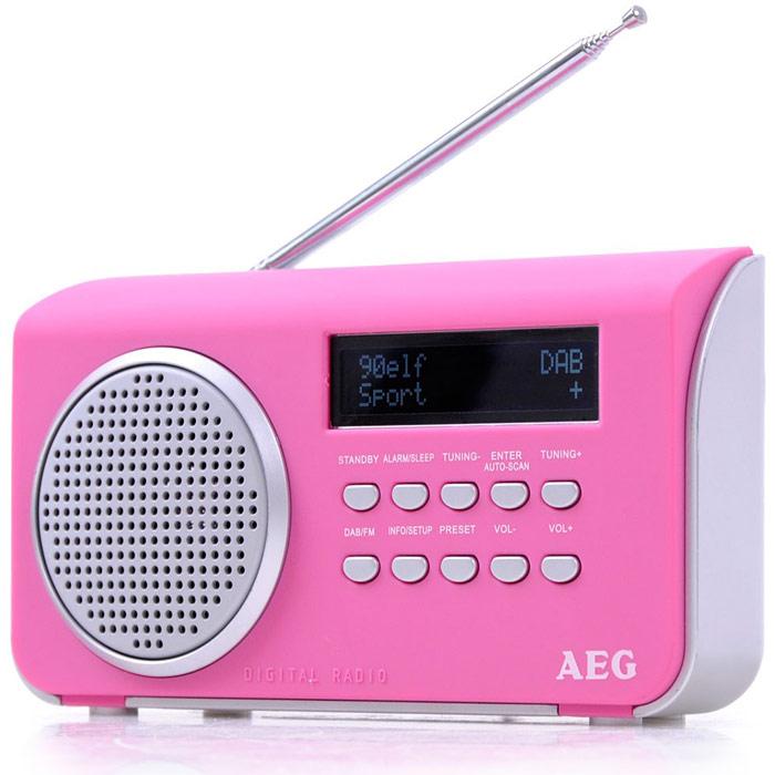 AEG DAB 4130, Pink радиоприемникDAB 4130 pinkПортативный радиоприемник AEG DAB 4130.AUX-INЖК-дисплейРежим ожиданияСпящий режимСенсорный корпусТелескопическая антеннаАвтоматический и ручной поиск10 ячеек памяти для радиостанцийDAB+ радио: большое количество разнообразных программ благодаря цифровому, безупречному приему, а также дополнительная информация по программамРежим работы от батарей: 4 х АА