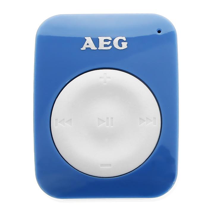 AEG 4GB MMS 4221, Blue White mp3-плеерMMS 4221 blau-weisМиниатюрный mp3-плеер AEG MMS 4221 идеален дляиспользования вне дома и при занятиях спортом, с помощью клипсы можно закрепить на рубашке, футболке, спортивных брюках, куртке.