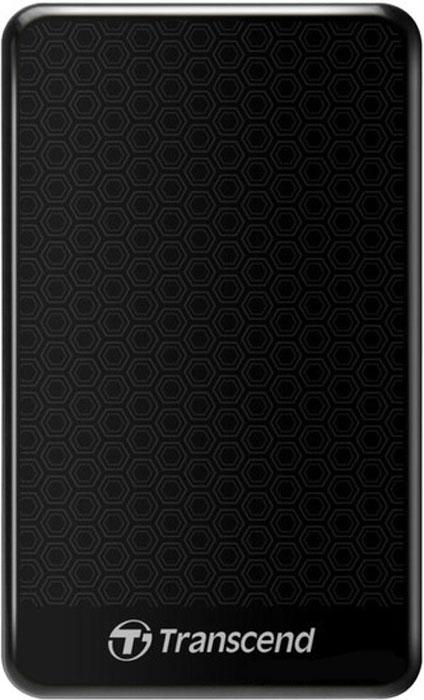 Transcend StoreJet 25A3 500GB, Black внешний жесткий диск (TS500GSJ25A3K)TS500GSJ25A3KПортативный внешний жесткий диск Transcend StoreJet 25A3, отличающийся повышенной устойчивостью к неблагоприятным воздействиям ударов, вибрации, пыли, влаги, жары и холода.Совместимость с суперскоростным USB 3.0, а также с USB 2.0 с обратной стороныПрочная, удароустойчивая конструкцияУсовершенствованная система внутренней подвески для защиты жесткого дискаПоддержка стандарта Plug&PlayПитание от USB, нет необходимости во внешнем адаптереЭнергосберегающий спящий режимКомплектуется ПО Transcend Elite для защитыLED индикатор статуса передачи данныхКнопка автоматического резервного копирования в одно нажатие