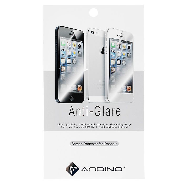 Andino защитная пленка для iPhone 5, матовая77303Защитная пленка для Apple iPhone 5 позволит уберечь любимый гаджет от появления царапин, отпечатков пальцев, сколов, пыли и влаги. Она не влияет на сенсорные качества дисплея и обладает высокой прозрачностью, легко наносится и так же легко снимается, не оставляя следов на дисплее.
