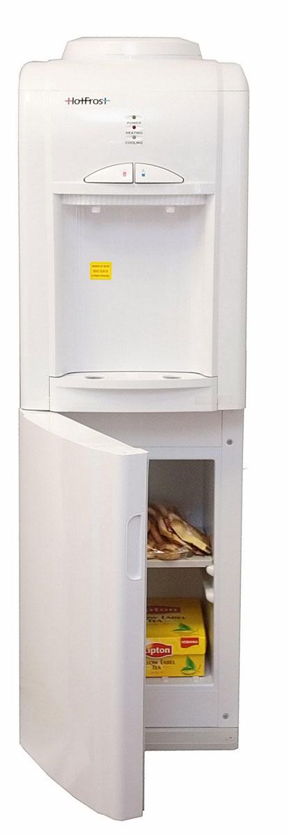 HotFrost V802CE кулер для воды921Напольный кулер HotFrost V802CЕ -прекрасный выбор для дома. Его гармоничный дизайн легко впишется в интерьер кухни современной хозяйки. Эта модель выполнена с использованием экологически чистых материалови отличается экономичностью потребления электроэнергии, а также эффективной системой нагрева (95°C) и охлаждения воды (10°C). Кроме того, в кулере V802CЕ есть шкафчик для хранения продуктов на 14 литров.Нагревательный элемент бачка горячей воды не контактирует с водой. Расширенная трубка выхода горячей воды в бачке горячей воды позволяет увеличить скорость наполнения до 1,8 литра в минуту. Дополнительная трубка облегчает санообработку бака горячей воды. Бачок холодной воды повышенного объема и производительности имеет защиту от протекания. Кулер оборудован дополнительной защитой от повреждений решетки конденсатора снизу. Снимающаяся уплотнительная резинка на дверке шкафчика обеспечивает удобную чистку внутренних поверхностей шкафчика.Вода: горячая / холоднаяШкафчик: 14 лСъемный лоток для сбора капельИндикатор охлаждения/нагреваМатериал бака горячей воды: нержавеющая стальЭнергопотребление: 1.2 кВт*ч в суткиКнопка подачи горячей воды с функцией Защита от детей
