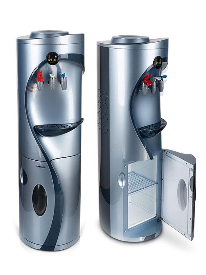 HotFrost V760СS кулер для воды966Напольный кулер с компрессорным типом охлаждения HotFrost V760C оборудован шкафчиком на 17 литров в нижней части корпуса. В верхней части корпуса имеется электронное информационное табло с показателями текущей температуры горячей и холодной воды, без возможности изменять температуру. В отличие от большинства стандартных кулеров с двумя кранами для розлива холодной и горячей воды, в модели кулера HotFrost V760C предусмотрен третий кран для розлива воды комнатной температуры. Электронное табло отображает температуру воды, делая повседневное использование аппарата намного более удобным и приятным.Корпус кулера представляет собой форму цилиндра и имеет несколько цветовых решений: цвет под дерево и светло-синий металлик. Напольный кулер HotFrost V760C имеет все сертификаты и соответствует международным стандартам.