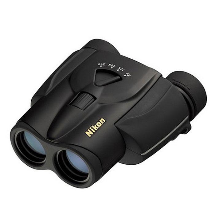 Nikon Aculon T11 8-24x25 Zoom, Black бинокльBAA800SAБинокль Nikon Aculon T11 8-24x25Zoom - это бинокль с переменной кратностью в диапазоне от 8 до 24 крат, при перемене кратности одновременно изменяются такие параметры как диаметр выходного зрачка, угол поля зрения и светосила. Подходит для наблюдений за окружающим миром, пригодится во время путешествия, спортивного матча или на охоте, при этом движущиеся объекты всегда будут находиться в поле зрения наблюдателя. Основные характеристики бинокля Nikon Aculon T11 8-24x25 Zoom (чёрный) Плавная смена увеличения от 8х до 24х, диапазон фокусировки объектива - от 3 мМногослойное просветляющее покрытие линз и призм, Porro призмыЦентральная фокусировка, регулировка межзрачкового расстояния (56..72 мм), поворотно-выдвижные наглазникиКонструктивные особенности бинокля Nikon Aculon T11 8-24x25 Zoom (чёрный) Все модели серии Nikon Aculon T11 отличаются компактными размерами (128х108х52 мм) и небольшим весом (всего 350 г), что выгодно отличает их на фоне других панкратических моделей. Бинокль Nikon Aculon T11 8-24x25 Zoom выполнен в пластиковом корпусе чёрного цвета. Эргономичный дизайн и удобное управление позволяют работать и наблюдать с комфортом, даже в том случае, если прибор удерживается с помощью только одной руки. Классическая схема призм Porro, используемая в конструкции прибора, обеспечивает естественную передачу цвета и контраст наблюдаемого изображения. Многослойное просветляющее покрытие, нанесённое на все стеклянные поверхности, улучшает светопропускную способность оптической системы в целом, при этом наблюдатель получает яркое и насыщенное качественное изображение. Плавная смена кратности осуществляется с помощью zoom-рычажка, расположенного сверху, в центральной части корпусаNikon Aculon T11 8-24x25 Zoom. Цифровая шкала помогает выставить нужное увеличение - просто установите рычажок напротив необходимого значения (8х, 12х, 16х или 24х) и наслаждайтесь видами. Однако, при каждой смене увеличения Вам необходимо буд